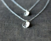 Double Strand Layered Necklace, Hammered Silver Drop, Two Chains Sterling Silver, Layering Necklace, Handmade Jewelry, Two Tier Necklace