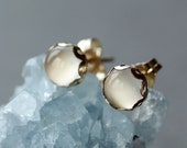 White Moonstone Stud Earrings, Elegant Gemstone Jewelry, 14k Gold Filled Post, Wedding Jewelry, Bridal Earrings, 6mm Size Scalloped Setting
