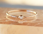 Mini Diamond Ring, 14k Gold Slim Hammered Band, Canadian Diamond