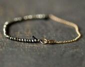 Pyrite Bracelet, Tiny Bead Bracelet, Fool's Gold Bracelet, Natural Semi Precious Stones, Faceted Gemstone Bracelet