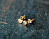 14K Solid Gold Studs, Gold Dot Studs, Rose Gold or Yellow Gold, Polka Dot Stud, Gold Circle Studs, Tiny Pebble Earrings, Second Hole Studs