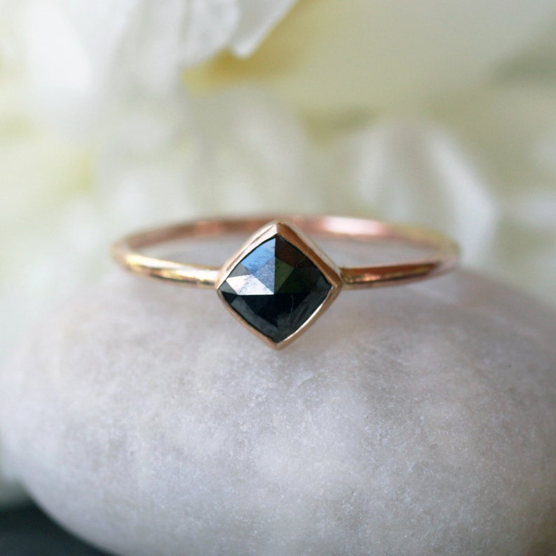 Square Diamond Ring  Rose Cut Black Diamond  Solid Gold Band image 0