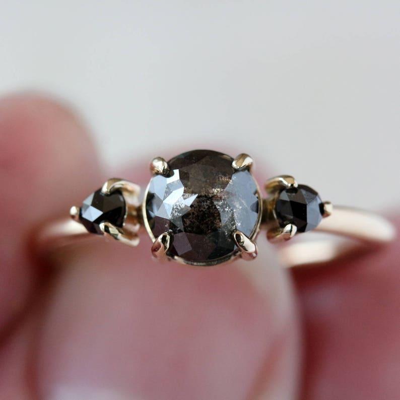 Three Stone Ring Black Diamond Ring Rose Cut Diamond Salt image 0