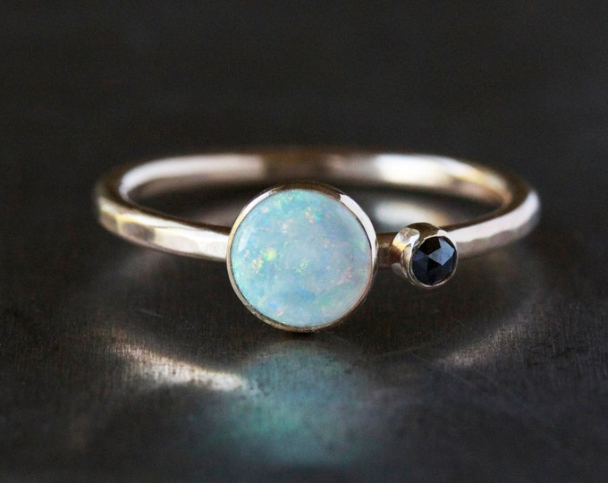Opal and Black Diamond Ring, Two Stone Engagement Ring, Solid 14k Gold Hammered Band
