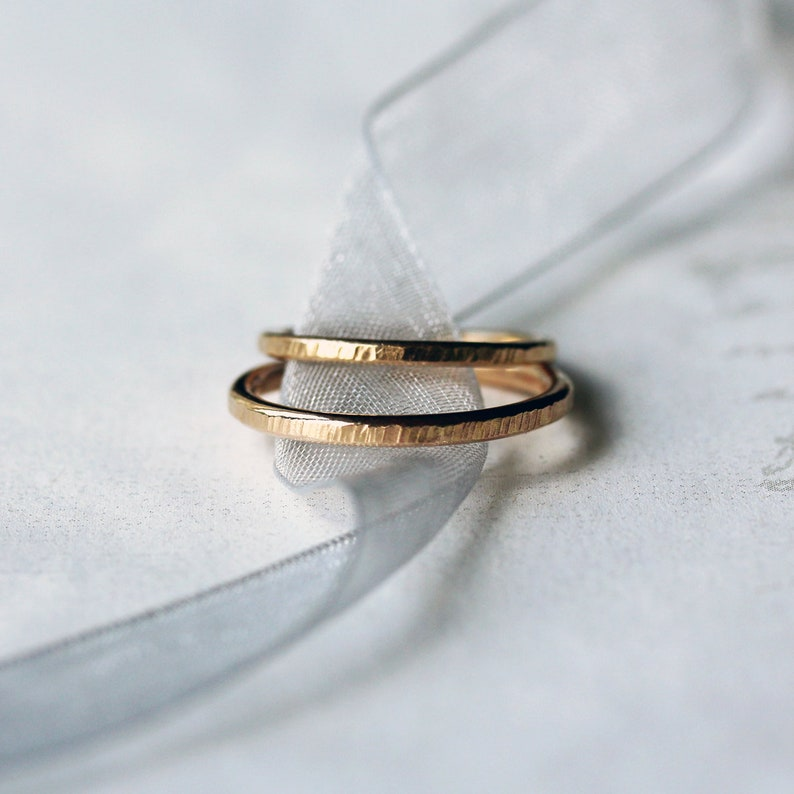 His and Hers Wedding Band Set Two Hammered Gold Rings Solid image 0
