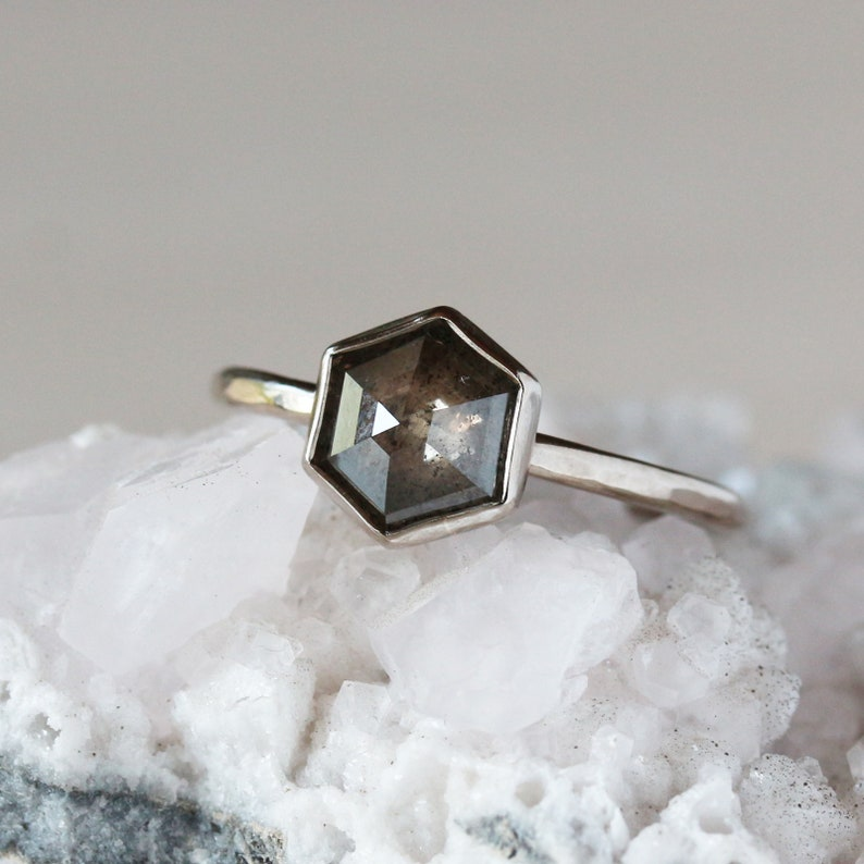 Hexagon Engagement Ring Rose Cut Salt and Pepper Gray image 0