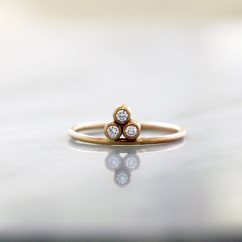 Diamond Trio Ring Unique Engagement Ring Gold Pyramid Three image 0