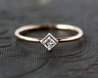 Diamond Engagement Ring, Princess Cut Square Diamond, Unique Engagement Ring, 14k Yellow Gold, Conflict Free Diamond, Handmade Jewelry