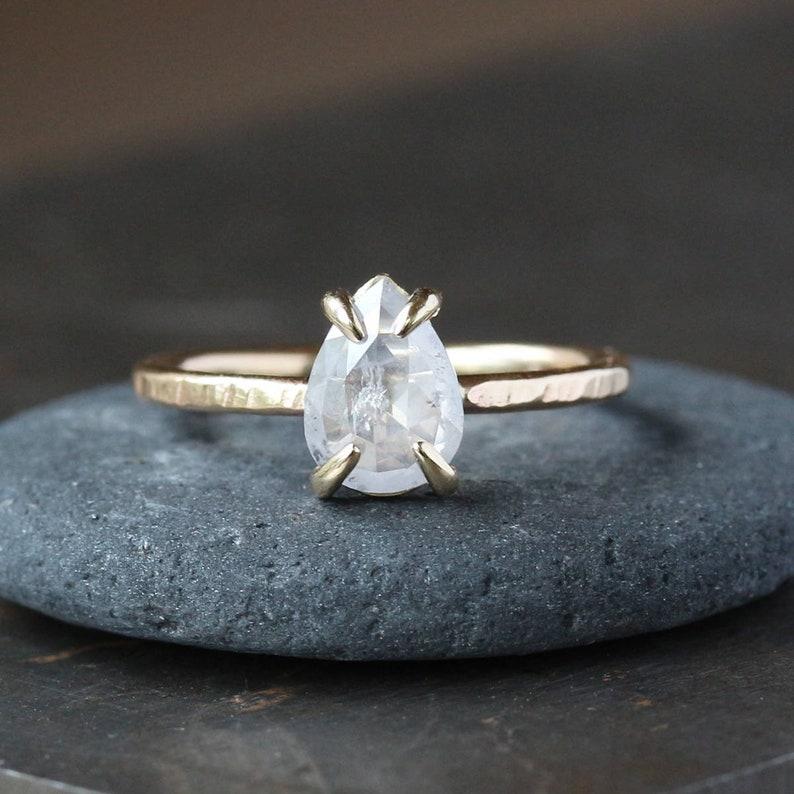Natural Icy White Diamond Ring Rose Cut Pear Diamond 14k image 0