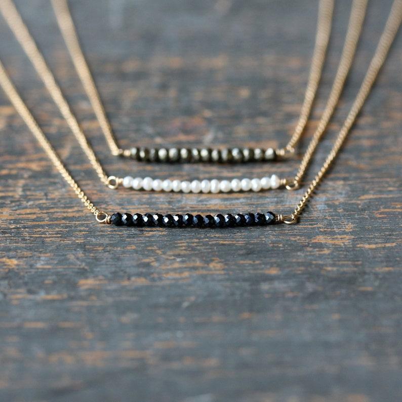 Mini Gem Row Necklace Layering Necklace Delicate Gemstone image 0