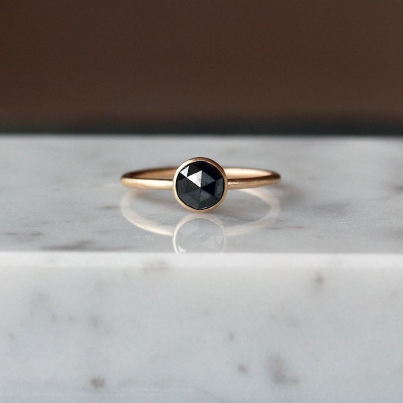 Rose Cut Black Diamond Ring Satin Matte 14k Yellow Gold image 0