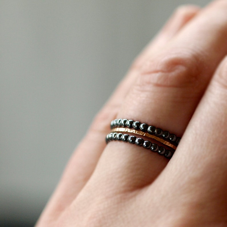 Oxidized Black Dotted Ring Black Dots Stacking Band Sterling Silver Minimalist Stacking Jewelry