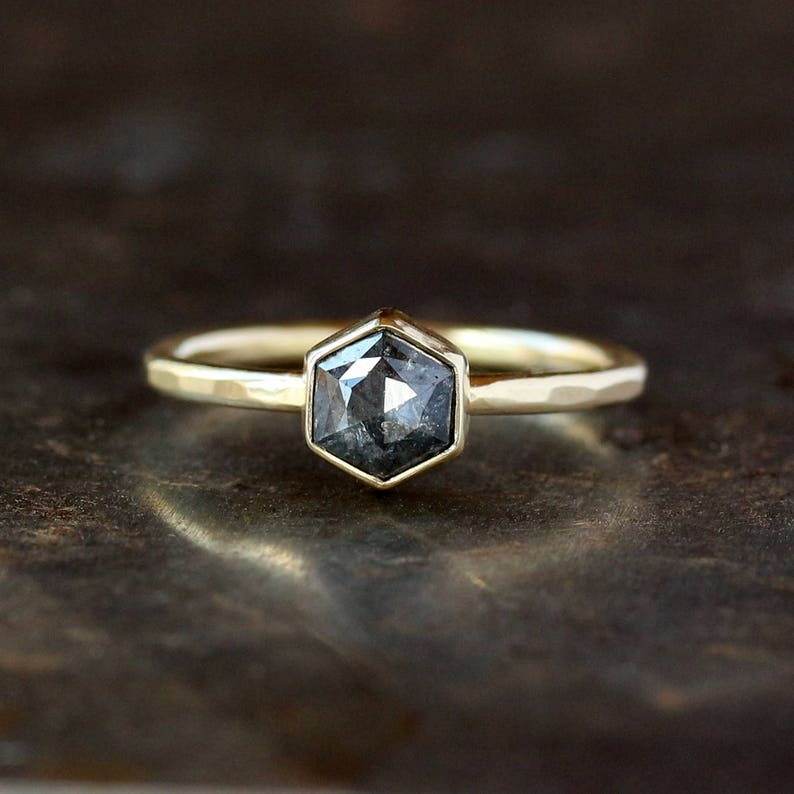 8a2354ad5bd4a Hexagon Engagement Ring, Rose Cut Deep Gray Hexagonal Diamond, Unique  Engagement Ring