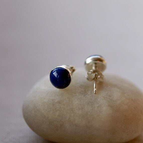 14K Solid Yellow Gold Small 6mm Deep Blue Gem Stone Studs 14K Gold Lapis Lazuli Stud Earrings December Birthstone Genuine Lapis Natural Gemstone Classic Dainty Handmade Jewelry Gift for Women