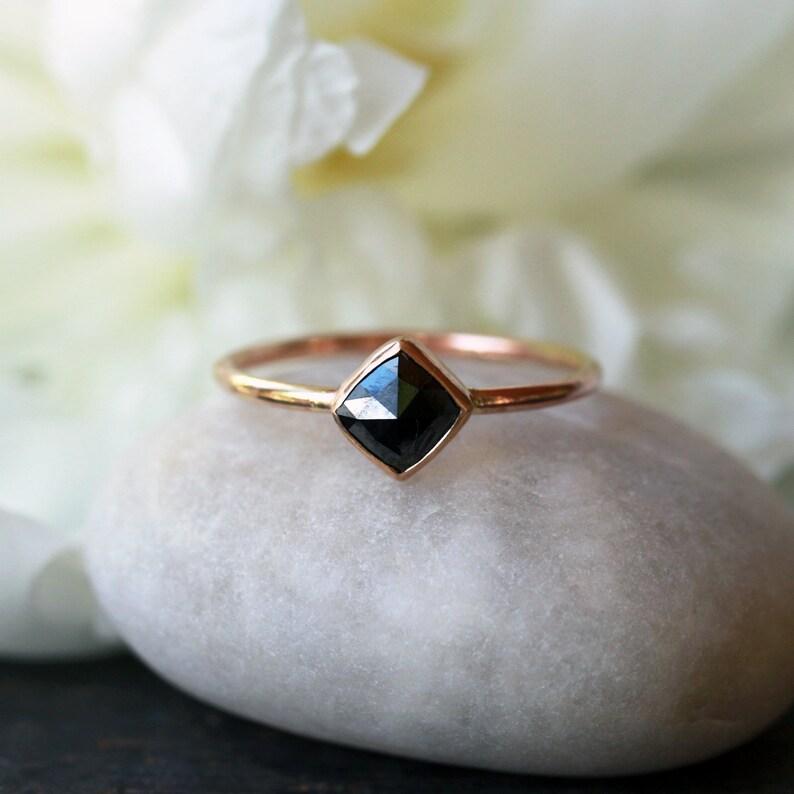 Square Diamond Ring  Rose Cut Diamond  Black Diamond image 0
