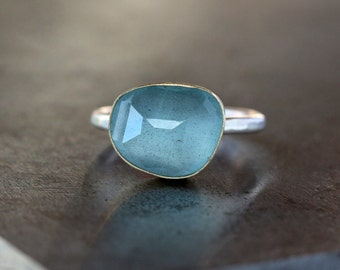 Rose Cut Aquamarine Ring, 18k Yellow Gold, March Birthstone, Organic Shape, Sterling Silver Band, Gemstone Solitaire, Statement Ring