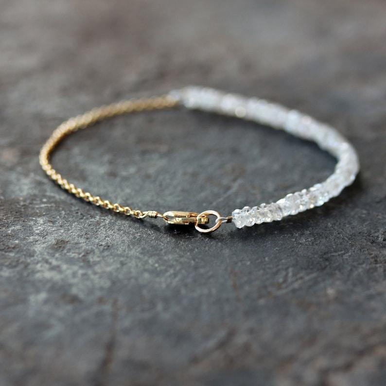 White Gemstone Bracelet Delicate Wedding Bracelet 14k Gold Filled Precious Gemstone Jewelry
