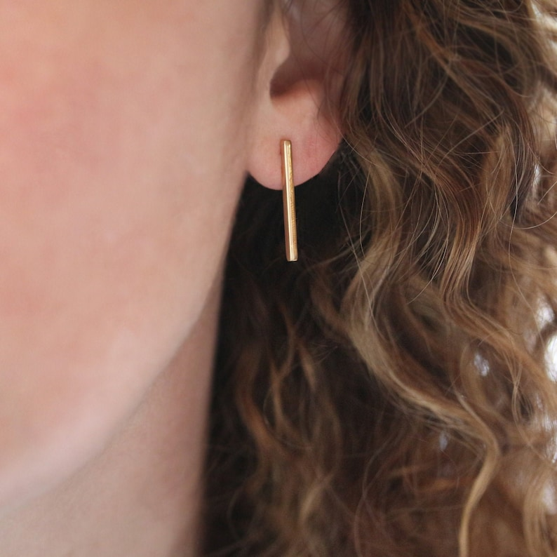 Long Bar Earrings Gold Line Posts Solid 14k Gold Stick image 0