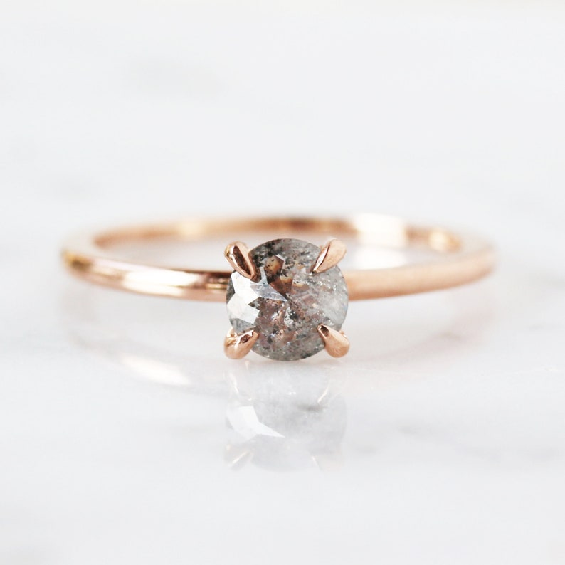Diamond Solitaire Ring 14k Rose Gold Band Rose Cut Salt and image 0