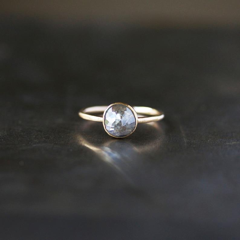 Rose Cut Diamond Ring Unique Engagement Ring Natural Color image 0