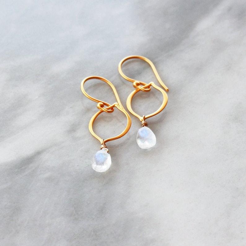 Moonstone Earrings Arabesque Earrings Moonstone Jewelry 24k image 0