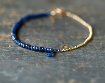 Blue Sapphire Beaded Bracelet, Precious Gemstone Bracelet, 14k Gold Filled Chain, Delicate Bracelet, September Birthstone