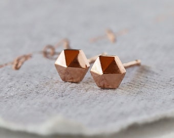 Hexagon Stud Earrings, Solid 14k Gold Hexagon Studs, Rose Gold Geometric Earrings, Small Gold Studs, Solid Honeycomb Earrings