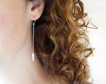Long Silver Earrings, Silver Spear Earrings, Long Dangle Earrings, Delicate Earrings, Modern Silver Jewelry, Sterling Silver Daggers