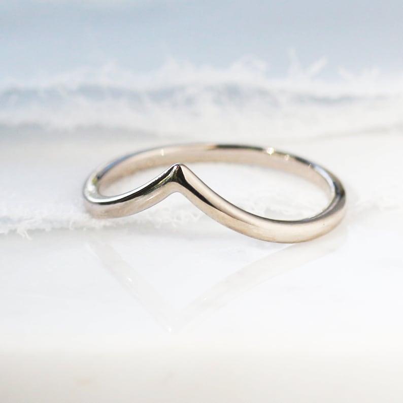 Contour Wave V Ring 18k SOLID Palladium White Gold Chevron image 0