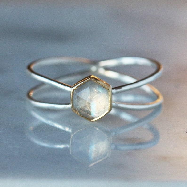 6ac93e159 Hexagon Moonstone Ring Rose Cut Rainbow Moonstone Criss | Etsy