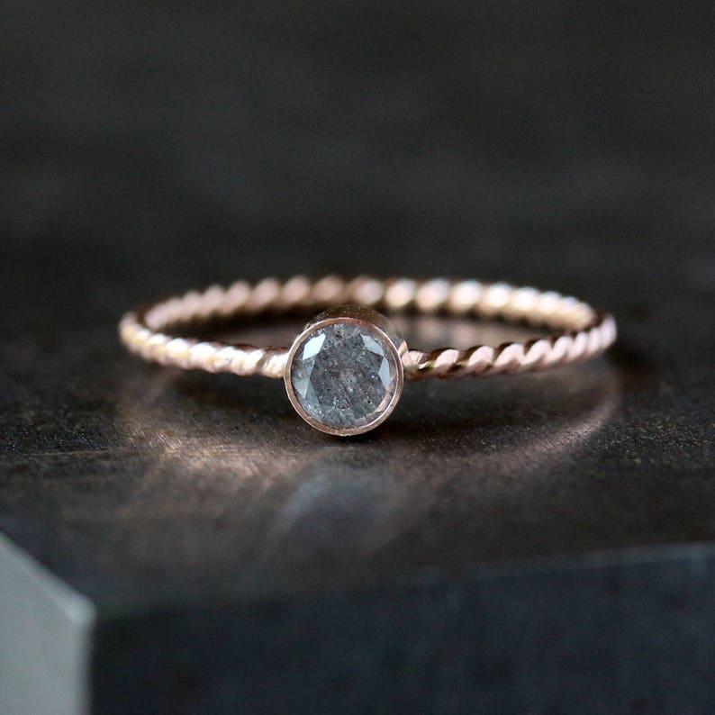 Gray Diamond Ring 14k Rose Gold Twist Band Choose from Two image 0