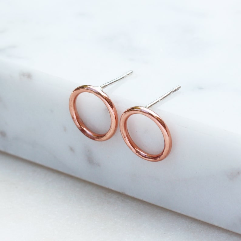 Open Circle Copper Earrings Copper Circle Earrings Sterling image 0