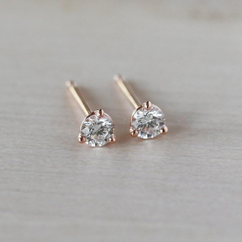 Diamond Stud Earrings Dainty Diamond Studs Minimalist image 0