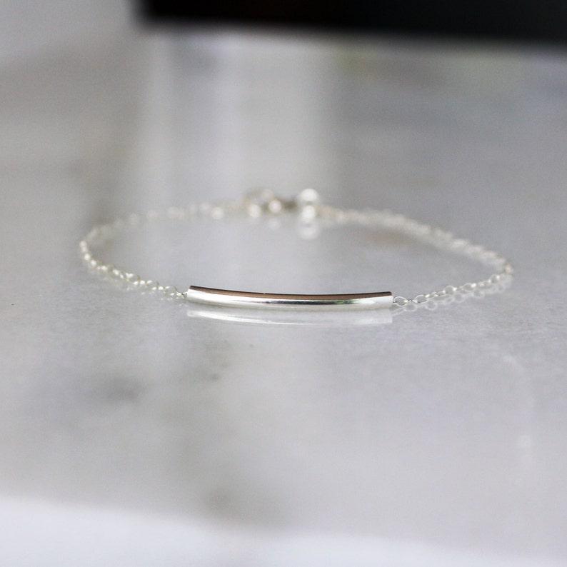 Sterling Silver Bar Bracelet Minimal Bracelet Layering image 0