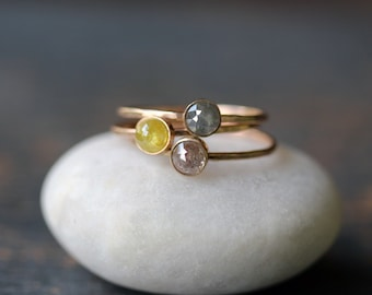 Rose Cut Diamond Stacking Ring, Natural Color Diamond Ring, 14k Yellow Gold Band, Hammered Ring, Recycled Metal, Conflict Free, Custom Made