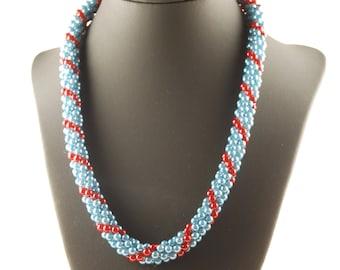 CUSTOM- Beaded Green Jewelry, Christmas Necklace, Christmas Jewelry, Handmade Beaded Green Necklace, Green Bracelet, Unique Crochet Rope