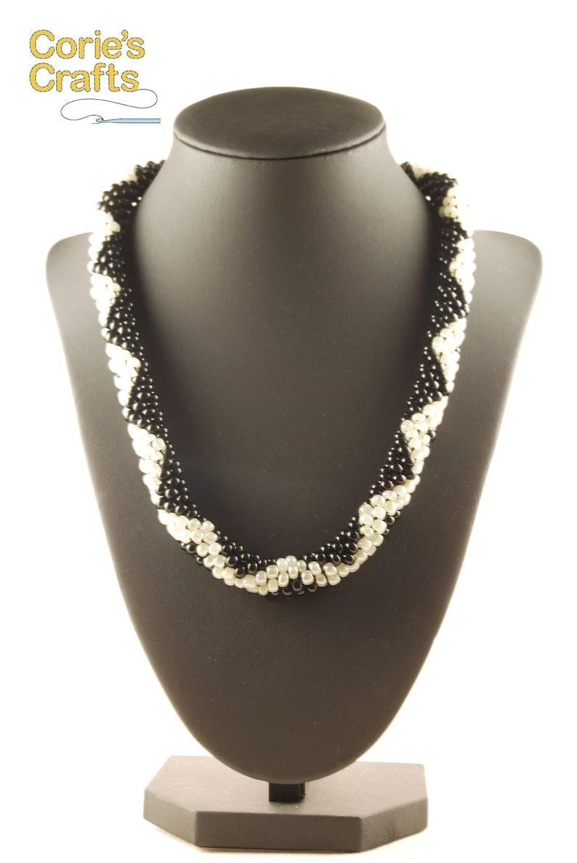 Crocheted Rope Jewelry Black Beaded Handmade Chevron Necklace Chevron Necklace Chevron Beaded Necklace Geometric Necklace
