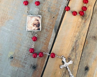 Custom photo rosary bead CHARM necklace memory soldered glass personalized charm reversible with your 2 pictures or text memorial keepsake