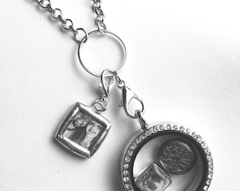 Personalized Clip On Dangle Photo charm for your living locket, charm bracelet or origami owl pendant 1/2 inch mini charm glass soldered