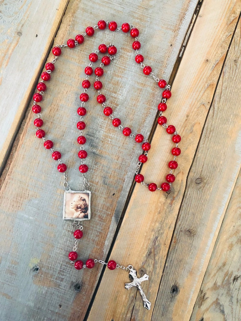 Custom photo rosary bead CHARM necklace memory soldered glass image 0