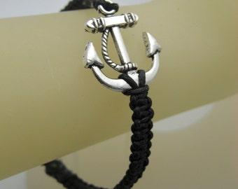 Silver anchor square knot black charm bracelet adjustable surfer style retro tattoo beach friendship bracelet sailor stackable