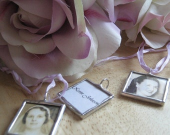 RUSH order Custom WEDDING CHARM photo memory soldered glass personalized charms reversible with your 2 pictures or images