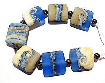 Etched  Nautical Blues Nuggets SRA Handmade Glass Lampwork Beads