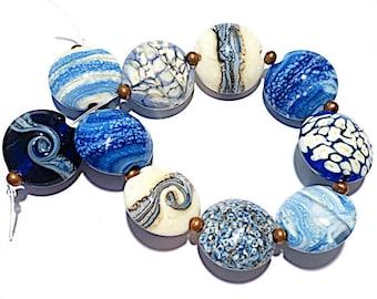 Pale blueIvory Handmade Glass Lampwork Beads Lentil 15mm