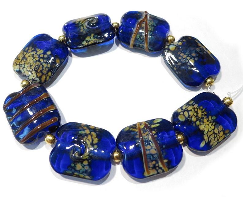 Cobalt Blue Squeezed Raku Beads Handmade Lampwork Glass   Beads