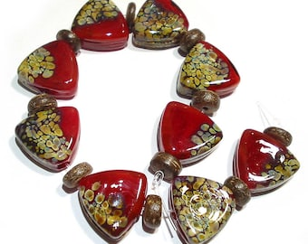 Handmade SRA Lampwork  Glass  Beads, Red Raku Shields