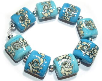 SRA Handmade Glass Lampwork Beads - Turquoise & Ivory Nuggets