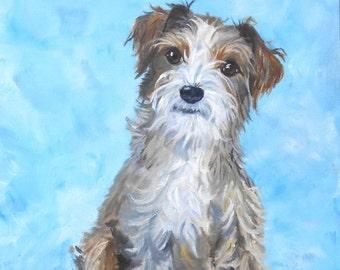 Custom Pet Portrait Painting, Fine Art Oils on Canvas Dog Portrait Home fall