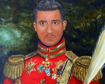 Custom Portrait Painting, Your Man in 19th Century General Uniform, Personalized from your Photos, Groomsmen Gifts Home fall