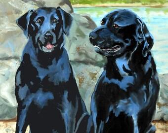 Dog Gift, Labrador Retriever and Rottweiler Mix Dog Portrait Painting, Custom Pet Portraits from Photos, Dog Lover Christmas Gift Idea Cats